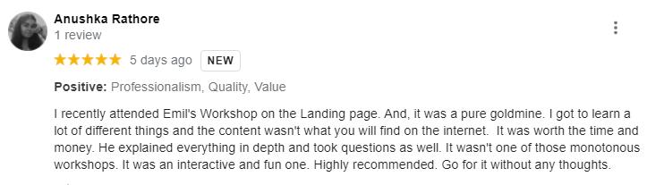 anushka-landing-page-workshop-review